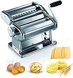 Máquina para Hacer Pasta Fresca Manual Máquina de Cortar Pasta de Acero Inoxidable con Manivela 9 cortes ajustes Fácil Manejo Para Casa Cocina Fideos Masa Tagliatelle Lasaña Espaguetis Plata