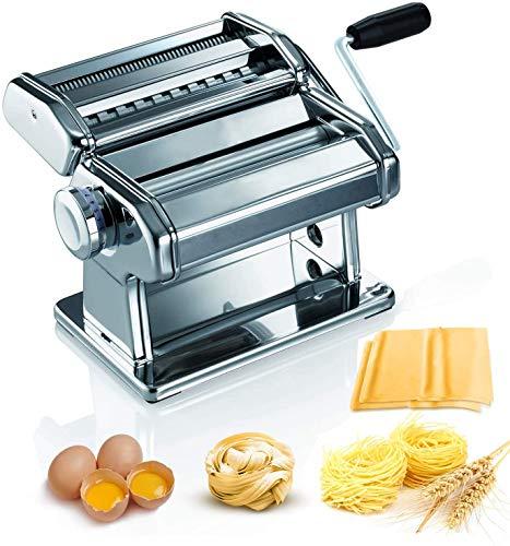 Máquina para Hacer Pasta Fresca Manual Máquina de Cortar Pasta de Acero Inoxidable con Manivela 9...