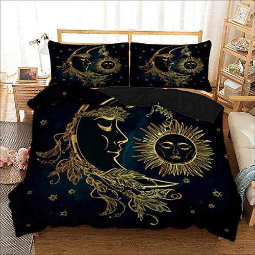 Bohemian Duvet Cover Queen 3D Golden Sun and Moon Printed Bedding Set for Kids Teens Adults Soft Microfiber Mandala Bedding Cover with Zipper Closure,Ties and 2 Pillowcases (Navy Blue, 3Pcs)