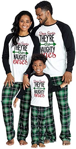 IFFEI Matching Family Pajamas Sets Christmas PJ's Letter Print Top and Plaid Pants Sleepwear 3-4 Years