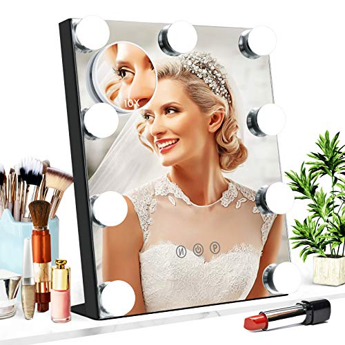 Vanity Mirror with Lights, Baban Hollywood Makeup Mirror with Dimmable LED with Lights 3 Colors Light Detachable 10X Magnification Touch Control 360°Rotation for Dressing Room, Bedroom Makeup, Black…