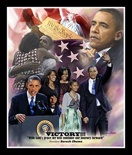 Wishum Gregory Victory Barack Obama Commemorative Art Print 10x8 Inches Black Frame product image