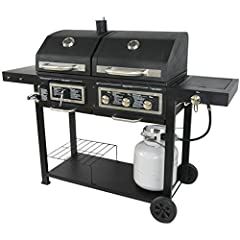 Gas side has 3 stainless steel tube burners offering a total of 24,000 BTUs Includes integrated ignition for all burners with rubber grip control knobs 188 sq in total warming rack space (89 charcoal, 99 gas) / 2 wheels for mobility 557 sq in total c...