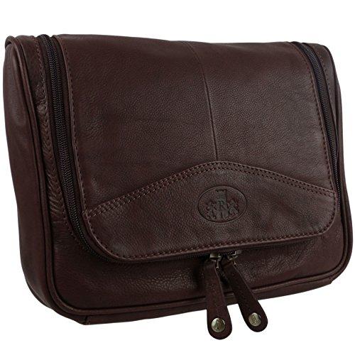 Rowallan Mens Quality Vintage Leather Hanging Wash Bag Travel Toiletries Brown Black-Brown