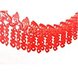 Dmeiling Chinese Traditional Wedding Decoration Supplies Red Hi Word Pull Flowers, Big Red Oil Plastic Paper 3 Meters Pull Hi, Wedding Festive Wedding Room Decoration Essential Supplies(2pcs)