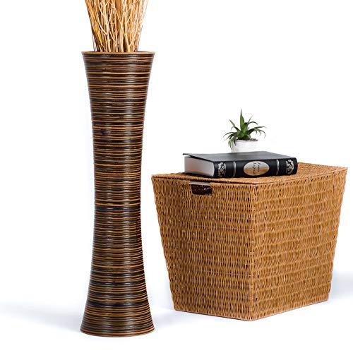 Leewadee Jarrón De Suelo Grande para Ramas Secas Decorativas Florero Alto De Piso Decoración Casa 75 cm, Madera de Mango, marrón