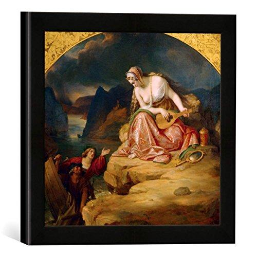 Gerahmtes Bild von Carl Joseph Begas Die Loreley, Kunstdruck im hochwertigen handgefertigten Bilder-Rahmen, 30x30 cm, Schwarz matt