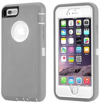 Annymall Case Compatible for iPhone 8 & iPhone 7 Heavy Duty [with Kickstand] [Built-in Screen Protector] Tough 4 in1 Rugged Shorkproof Cover for Apple iPhone 7 / iPhone 8  Grey