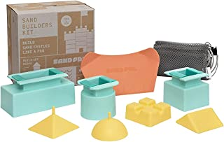 SAND PAL Beach Sand & Snow Castle Building Kit, 9-Piece Brick Maker and Toy Set, Construction Shape Molds for Girls and Bo...
