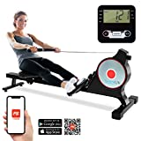 SereneLife Magnetic Rowing Machine with Bluetooth App Fitness Tracking – Foldable Home Gym...
