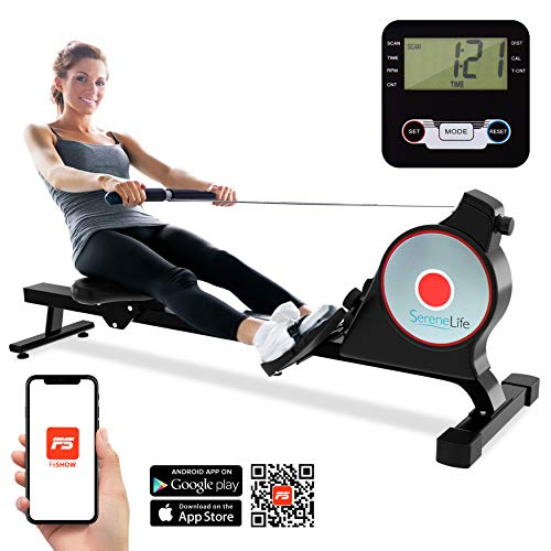 Best Prices! SereneLife Magnetic Rowing Machine with Bluetooth App Fitness Tracking – Foldable Hom...