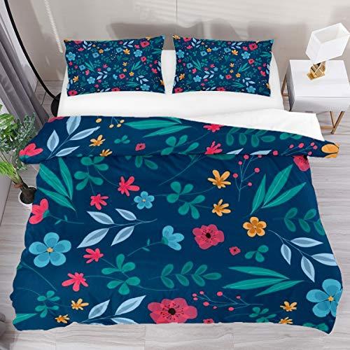 GanLongDian Duvet Cover Set Bedding Quilt Cover,Duvet Cover and Pillowcase, Comforter Cover Bedding Set Gift Single Full Double King Size Ditsy Floral Print