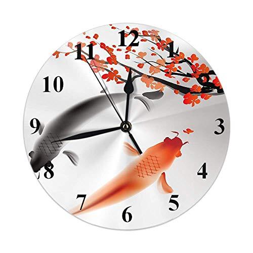 Reloj de pared redondo, carpas, pez, tinta, rama asiática, cultura de pareja, brote floral, naturaleza, estanque, suerte, decoración del hogar, reloj para cocina, sala de estar, dormitorio, oficina