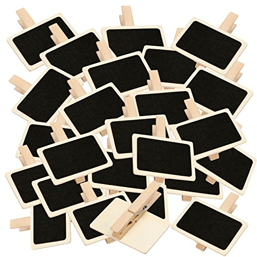 BODA Holztafel mit Klammer 25 Stück groß Deko-Klammern Wäscheklammer 6,5 x 4,5cm