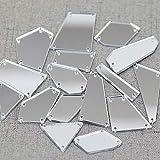 RUINUO 50 cuentas de acrílico para coser en espejo de plata, para trajes y accesorios de disfraces (plata)