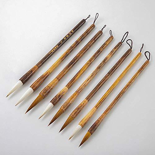 QIBIN Juego de brochas de caligrafía china, grandes, medianos y pequeños, para principiantes, entusiastas de la práctica y escritura de 8 piezas para caligrafía