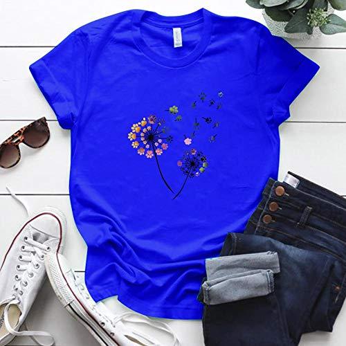 T-Shirt Femme Couleur Pissenlit Imprimé Tshirt Femmes Plus La Taille D'Été Drôle Tshirt Tee Shirt Femme À Manches Courtes Tops Femmes Vêtements S MB