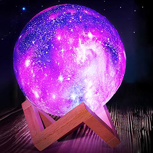 Mydethun Cool Moon Lamp Kids Night Light Galaxy Lamp 5.9 inch 16 Colors LED 3D Star Moon Light with Wood Stand, Remote & Touch Control USB Rechargeable Gift for Women Baby Girls Boys Birthday