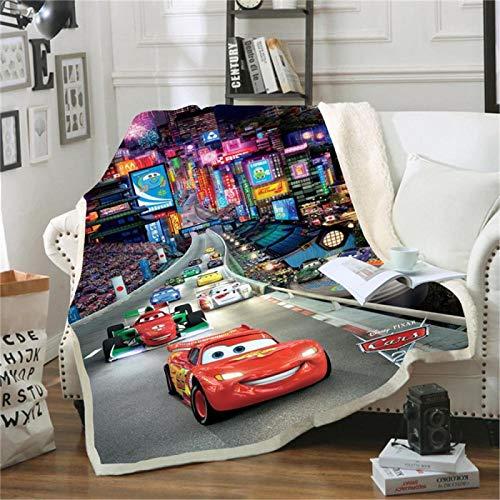 Sherpa Mantas para Sofa Anime lindo carrera de autos 80x130cm Manta de Cama mullida Lana, Suave, cálida, cómoda-Lavable-para sillas de Dormitorio, Viajes, habitación, niños