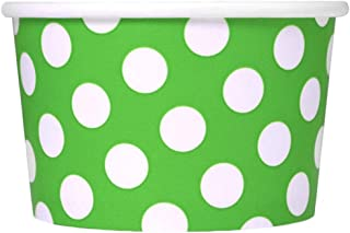 Green Paper Ice Cream Cups - 8 oz Polka Dotty Dessert Containers Perfect For Yummy Treats - Many Sizes to Make Your Party Amazing! Frozen Dessert Supplies - 50 Count