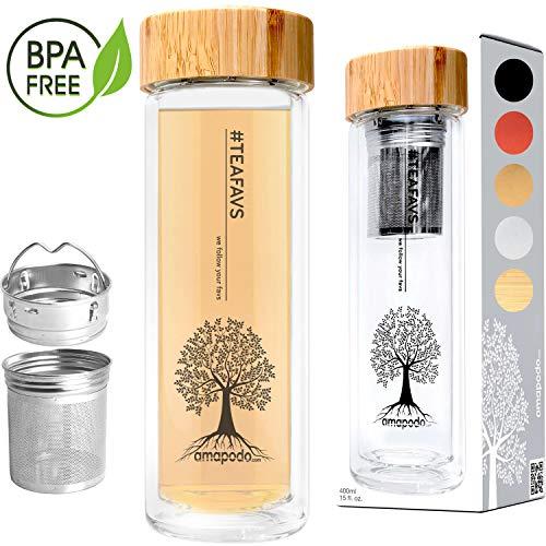 amapodo Teeflasche Glas doppelwandig mit Sieb - Glasflasche Trinkflasche Wasserflasche 400ml - Tee Flasche Teekanne mit Siebeinsatz & Bambus-Deckel