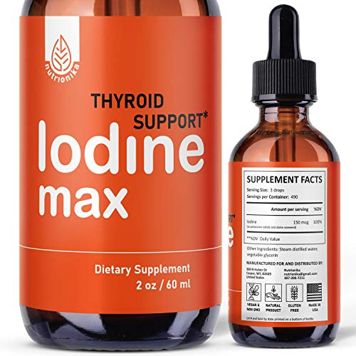 Nutrionika Nascent Iodine Drops - Liquid Iodine for Thyroid Support - Active Iodine for Hormonal Balance and Weight Support - Promotes Thyroid Edge Health - Boost Metabolism, Focus & Energy (2 Fl Oz)