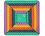 CRAZYCHIC - Pop It Gigante con Dados Fidget Toys - Popit XXL Grande Push Bubble Juguetes Niños Barato - Juegos Antiestres Dice Game Hijos Adultos - Burbujas Multicolor Arco Iris Regalo - Cuadrado