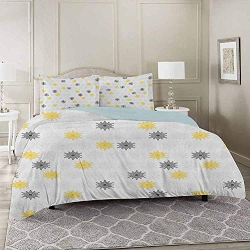 YUAZHOQI Grey and Yellow Bedding Duvet Cover 3 Piece Set King, Moroccan Style Modern Sun Beam Flowers with Rounds Dots Image Comforter Cover with Zipper Closure and 2 Pillow Sham