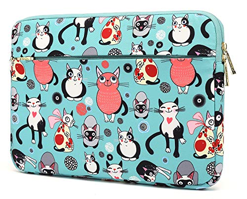 KAYOND Nylon Fabric 13 inch laptop sleeve, for 12.5-13.3 Inch Notebook Computer and Macbook air 13,Macbook pro 13.3, Water Repellent laptop bag,Shockproof case (13-13.3 inch, Lovely cat)