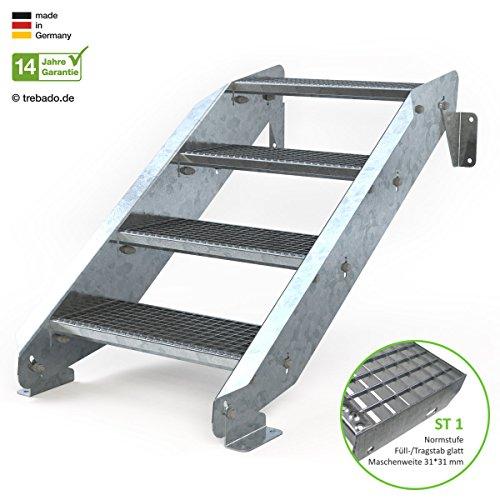 Außentreppe 4 Stufen 60 cm Laufbreite - ohne Geländer - Anstellhöhe variabel von 62 cm bis 84 cm - Gitterroststufe ST1 - feuerverzinkte Stahltreppe mit 600 mm Stufenlänge als montagefertiger Bausatz
