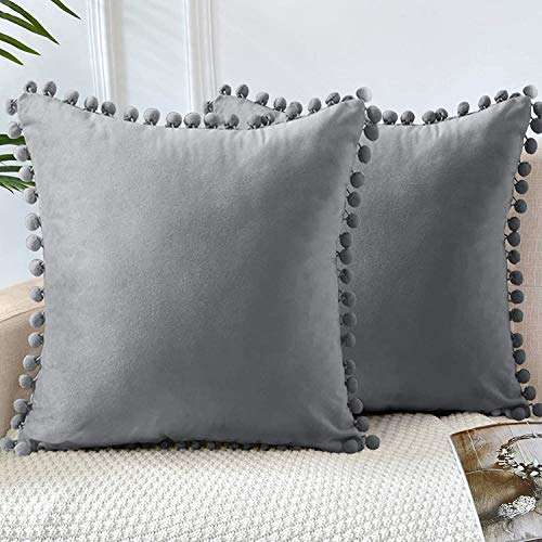 GaoTuo Terciopelo Suave Fundas de Almohada Decorativas de Terciopelo para el hogar, sofá Cama con Bola de Color sólido, Sala de Estar, Dormitorio, Estudio (Gris)