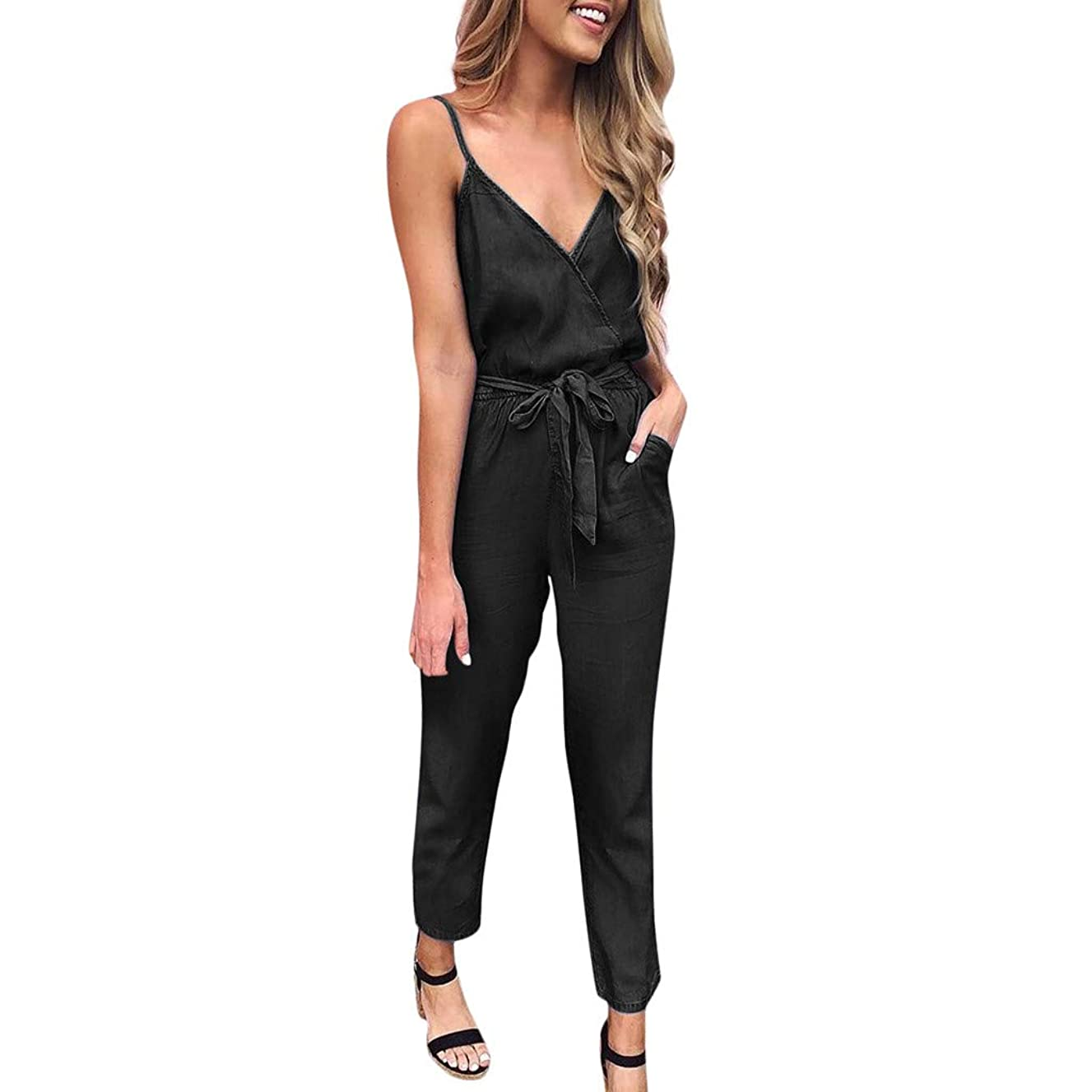 MURTIAL Women's Jumpsuit Summer Spaghetti Strap Wrap Top Tie Waist Casual Rompers