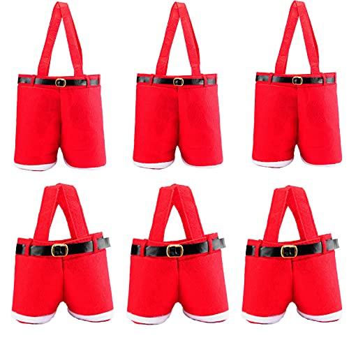AK-Xing, 6 sacchetti regalo per decorazioni natalizie, sacchetti per caramelle, graziosi pantaloni di Babbo Natale, sacchetti per bottiglie di vino rosso, per feste di matrimonio