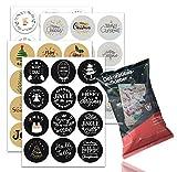 48x Aufkleber & Sticker für Weihnachten - Sticker selbstklebend rund für Geschenke, Weihnachtsaufkleber