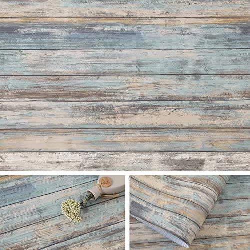 Arthome Blau Klebefolie Vintage Holz Möbelaufkleber,Vinyl Möbelfolie Selbstklebende Tapete Holz Folie Selbstklebend,Wasserdicht Leicht zu reinigen,43,5 cm x 3.05 m