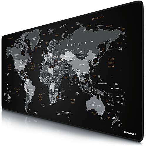 CSL - XXL Mauspad Gaming Titanwolf 900x400 mm - Mousepad XXL Gaming Groß - Tischunterlage Large Size - verbessert Präzision & Geschwindigkeit - Design Weltkarte Schwarz