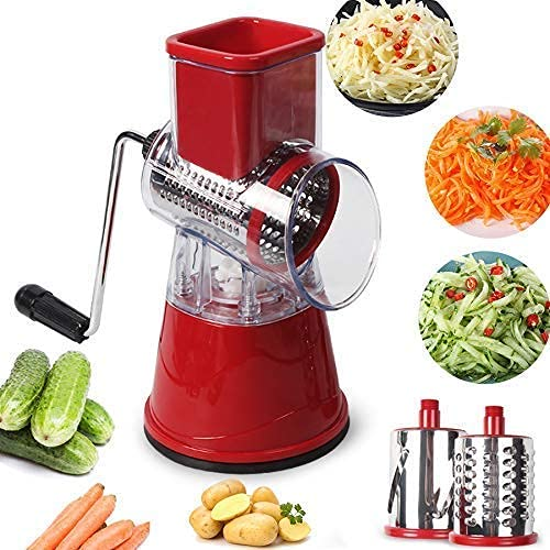 LLKK Multi-Function Chopper Hand-Cranked Rotary Grater Kitchen Drum Cutter with 3 Stainless Steel Rotating Blades Fruit Cheese Grater Vegetable Chopper (Red)