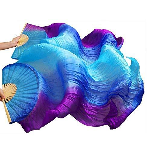 シルクファンベール 2本セット シルク100% ベリーダンス ファンベール シルクファンベール ベール シルク 衣装 扇子 団扇 舞台 小道具 アクセサリー 扇子 団扇 (垂直空色青紫)