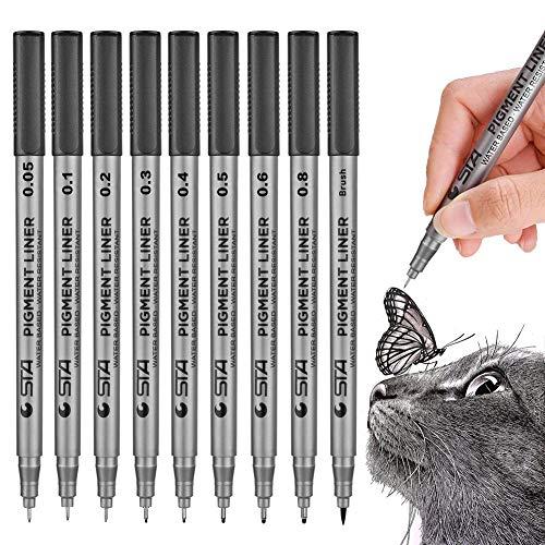 Precision Black Micro-Pen Fineliner Ink Pens, Archival Ink Micro-Line Pens, Illustration Pens, Multiliner Pens for Art Watercolor, Sketching, Anime, Manga,