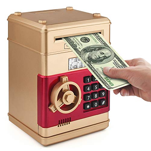 Setibre Piggy Bank, Electronic ATM Password Cash Coin Can Auto Scroll Paper Money Saving Box Toy Gift for Kids (Gold)