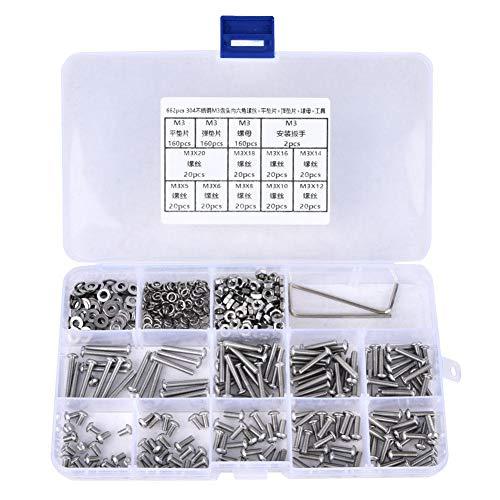304 Edelstahl Schrauben und Muttern, M3 Linsenkopf Sechskantschraube Mutter Unterlegscheibe Federdichtung Schraubenschlüssel Sortiment Set Kit mit Aufbewahrungsbox (662 Stk.)