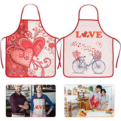 ANPHSIN 2 Pcs Valentine's Day Aprons- Love Hearts Collage Bib Chef Apron Full Length Cotton Couple Aprons with Love Heart Flower Bike Patterns for Women Girls Valentine Wedding Gifts (2 Style)