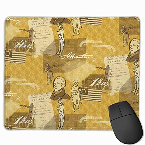 YUERF Alexander Hamilton Mouse Pad with Stitched Edges - Gaming Mouse Mat for Computer Laptop 9.8×11.8 in