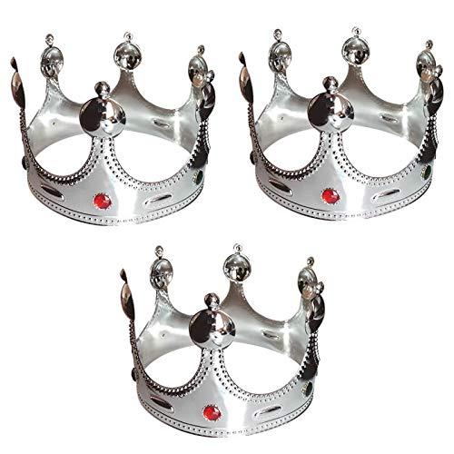 Corona de Rey Plateada Pack 3 uds (Corona Rey Mago Navidad)