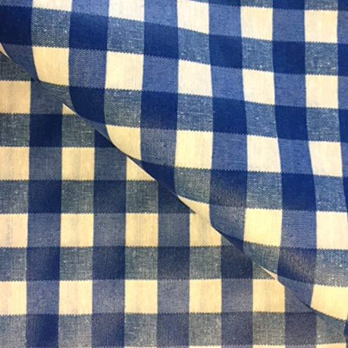 Franclaire Fabrics Nappe ronde avec revêtement acrylique à carreaux bleus facile à nettoyer – 160 cm de diamètre