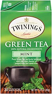Twinings of London Mint Green Tea Bags, 20 Count (Pack of 6)