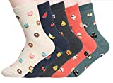 Women's Cool Animal Fun Crazy Socks (Food Porn 5 Pairs),One Size