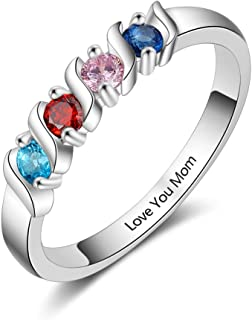 Grandma Rings with 4 Simulated Birthstones Personalized Family Jewelry Women's Promise Rings Engraved Names