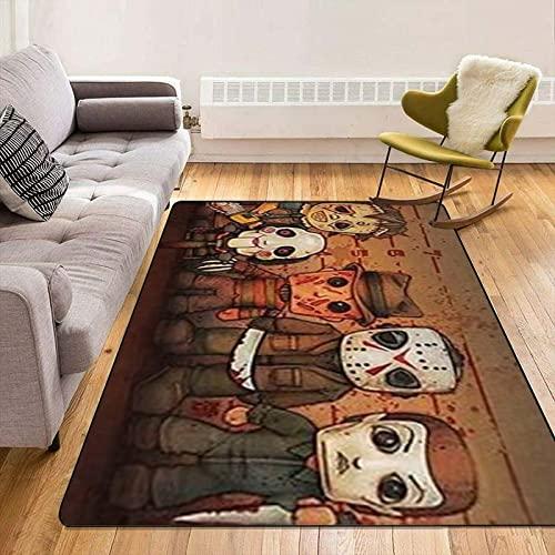 XuJinzisa Halloween Horror Screaming Carpet Area Carpet Living Room Carpet Bedroom Carpet Super Soft Flannel 3D Printed Carpet 140X200Cm B4086