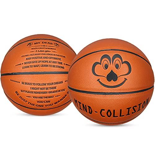 MINDCOLLISION Baloncesto, No. 5 Mensaje de Baloncesto, Regalo de Baloncesto de Cuero PU, Adecuado para la Competencia y capacitación para Principiantes de más de 3 años (marrón)